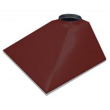 ЗВОК 500х 600х400 h купольный без шины красный зонт вытяжной из оцинкованной стали