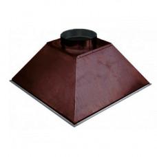 ЗВОК 600х 600х400 h  купольный  коричневый  зонт вытяжной из оцинкованной стали на шинорейке