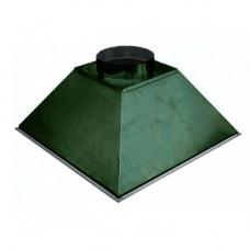 ЗВОК 700х 700х400 h купольный зеленый зонт вытяжной из оцинкованной стали на шинорейке