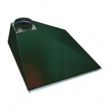 ЗВОП 600х 900х400h пристенный зеленый зонт вытяжной из оцинкованной стали на шинорейке