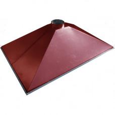 ЗВОК  600х 900х400 h красный зонт вытяжной из оцинкованной стали на шинорейке
