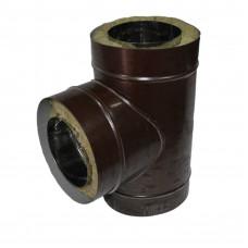Тройник сэндвич 90 150х210 0,5мм/0,5мм из оцинкованной стали коричневый для дымоходов